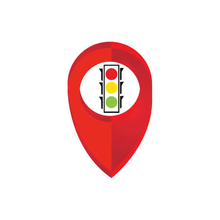 map pointer Traffic light signal - vector icon
