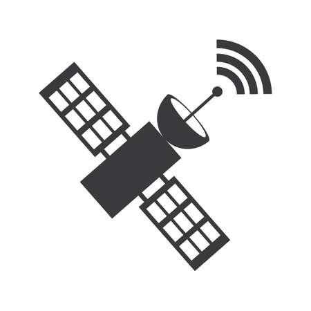 Icona satellitare, illustrazione vettoriale di trasmissione icona vettoriale satellitare, icona di comunicazione satellitare in design piatto alla moda Vettoriali