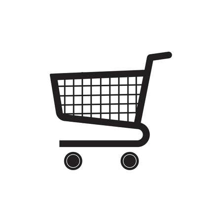 Plantilla de diseño de ilustración de icono de vector de carro de compras Icono de signo de carro de compras, ilustración vectorial. Estilo de diseño plano - Vector
