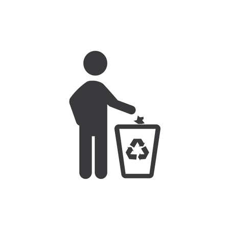 throw garbage in the trash vector illustration desigh