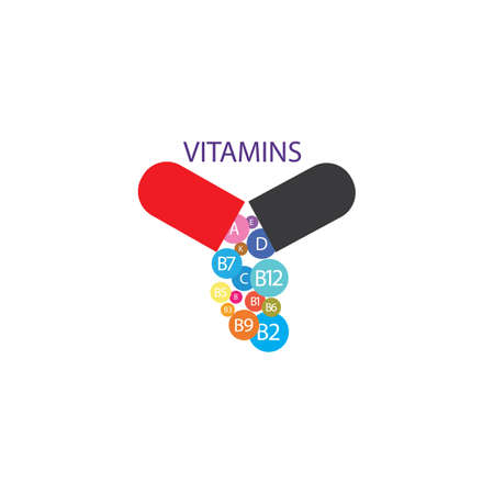 Multi Vitamin complex icons. Multivitamin supplement, Vitamin A, B group B1, B2, B3, B5, B6,B7, B9, B12, C, D, E, K  Science vector illustration,vector icon  Multivitamin complex flat 