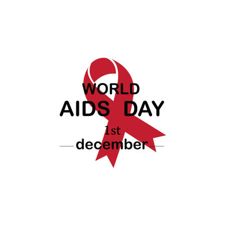 Red ribbon AIDS, HIV icon illustration,word AIDS day,AIDS awareness vector illustration