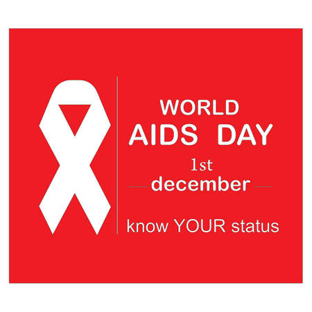Red ribbon AIDS, HIV icon illustration,word AIDS day,AIDS awareness vector illustration Reklamní fotografie - 134847472