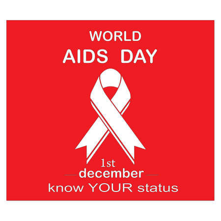Red ribbon AIDS, HIV icon illustration,word AIDS day,AIDS awareness vector illustration Reklamní fotografie - 134847482