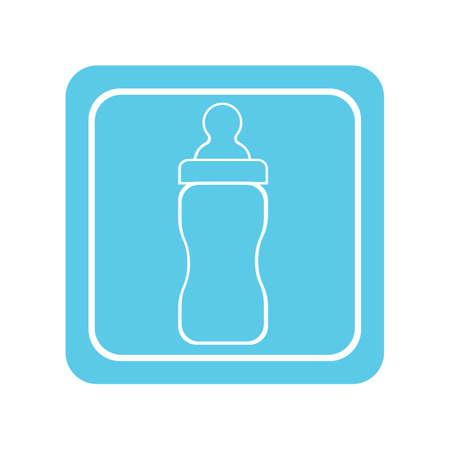 Baby bottle with a nipple. Isolated on blue background. Raster version