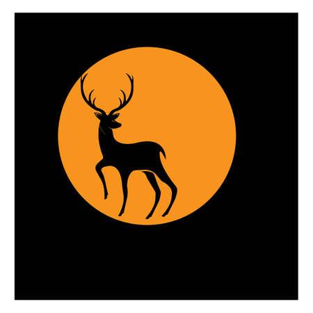 Diseño del ejemplo del icono del vector de la plantilla del logotipo de los ciervos