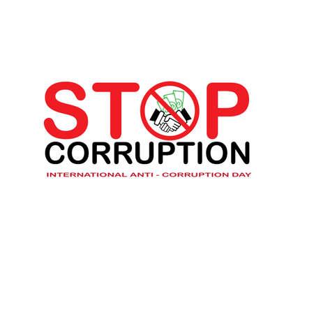 Stoppt Korruption und Internationaler Antikorruptionstag Vektorgrafik