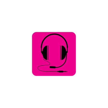 black headphones icon Vector illustration design on background magenta