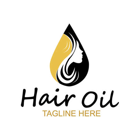 hair oil essential logo with drop oil and hair logo symbol-vector Illustration