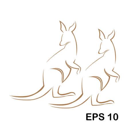 Diseño de ilustración de vector de plantilla de logotipo animal canguro único de Australia