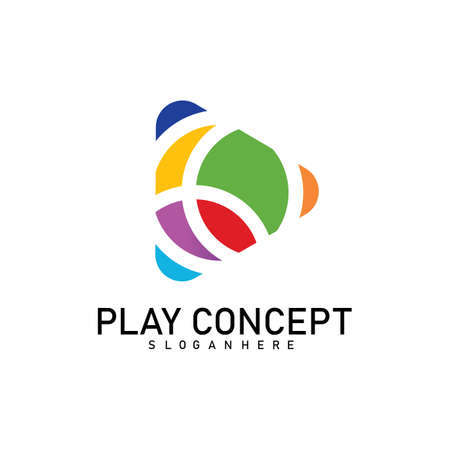 Colorful Play logo design concept. Play logo template vector. Icon Symbol