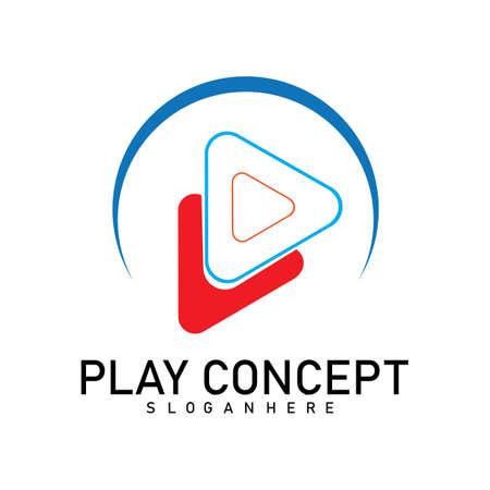 Concetto di design del logo colorato Play. Gioca vettore modello logo. Simbolo dell'icona