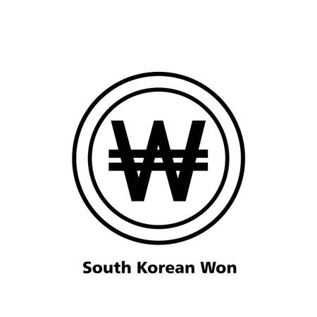 South Korean Won symbol icon Vector