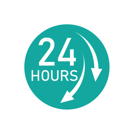 twenty four hours icon, 24 hours vector icon