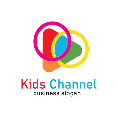 Plantilla de diseño de icono de logotipo de canal de niños. Ilustración vectorial Logos
