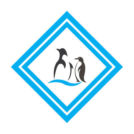 penguin bird vector logo, arctic animal symbol
