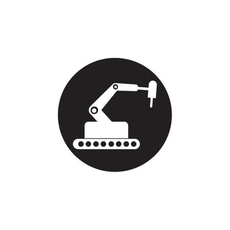 Industrial mechanical robot arm vector icons