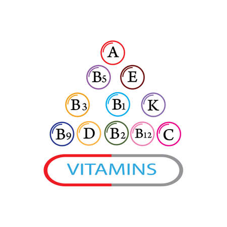 Mineral Vitamin multi supplement icons. Multivitamin complex flat vector icon set, Vettoriali