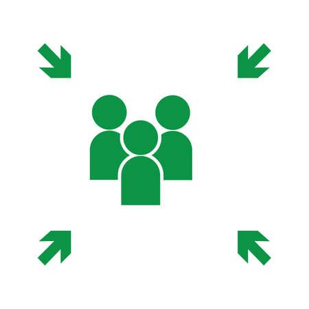 Emergency evacuation assembly point sign, gathering point signboard, vector illustration. Ilustração Vetorial