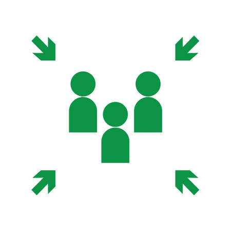 Signe de point de rassemblement d'évacuation d'urgence, panneau de point de rassemblement, illustration vectorielle.