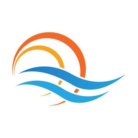 logo di progettazione dell'illustrazione di vettore dell'icona del sole e dell'onda dell'acqua del mare - Vector Logo
