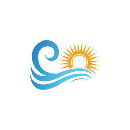 sea Water wave and sun icon vector illustration design logo - Vector