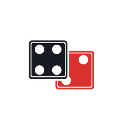 Dices sign icon. Casino game symbol. Flat dice icon. Round button with flat game icon Vector
