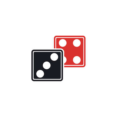 Dices sign icon. Casino game symbol. Flat dice icon. Round button with flat game icon Vector Vector Illustration