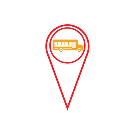 bus station location map pointer signMap pointer with bus icon Vector.
