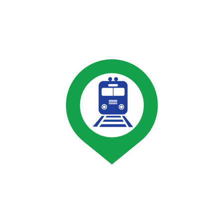 Train station map pin icon. Train station map point symbol. Flat design. Stock - Vector illustration