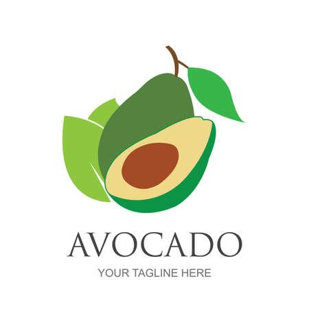 Avocado fruit logo template. Avocado half with leaf vector design. Health food logotypeavocado logo design vector illustration