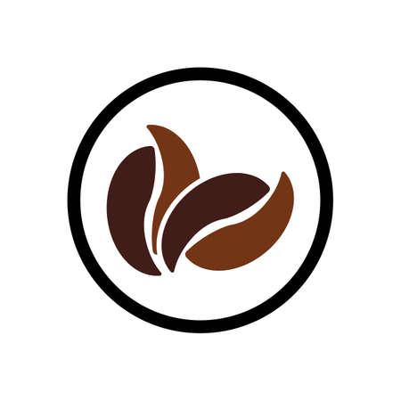Plantilla de ilustración de vector de icono de grano de café