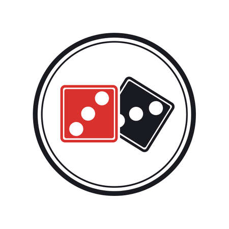 Dices sign icon. Casino game symbol. Flat dice icon. Round button with flat game icon Vector Illustration
