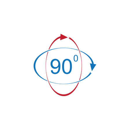 Angle 90 degrees sign icon. Geometry math symbol. Right angle. Classic flat icon. Colored circles. Vector