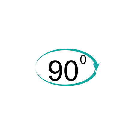 Angle 90 degrees sign icon. Geometry math symbol. Right angle. Classic flat icon. Colored circles. Vector Vektorové ilustrace
