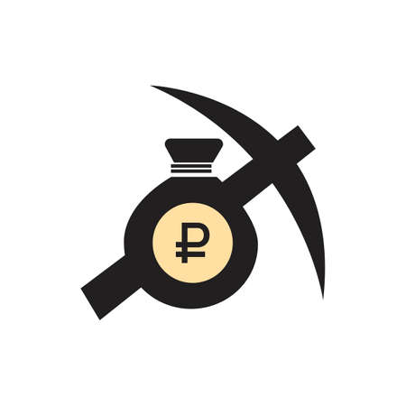 Currency flat icon symbols coin : Russian Ruble Rub vector illustrationcoin currency sign ruble money russian