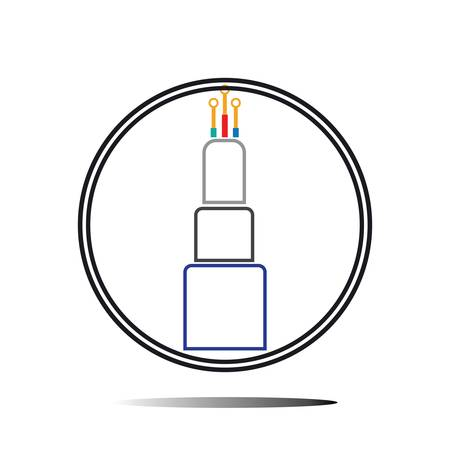 optic fiber cable vector icon illustration design template