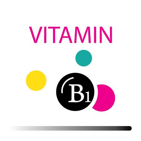 Vitamin B1. Medicine health symbol of thiamin. Natural chemical b1 vitamin