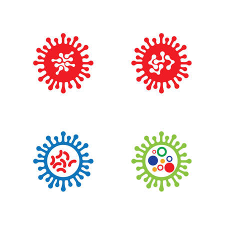 bacteria, microbes and viruses logo vector icon illustration design template