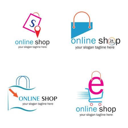 online shop logo vector icon illustration template design