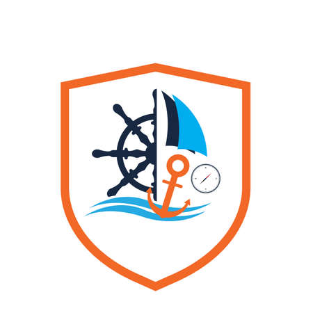 ships wheel logo vector illustration design template