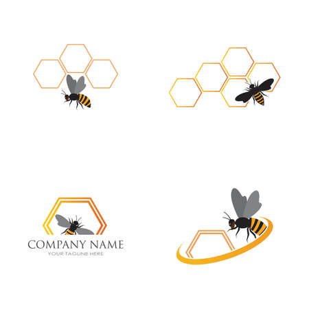 bee and honeycomb logo vector illustration design template