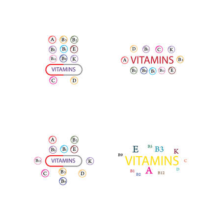 Multi Vitamin complex icons. Multivitamin supplement, Vitamin A, B group B1, B2, B3, B5, B6,B7, B9, B12, C, D, E, K  Science vector illustration,vector icon  Multivitamin complex flat   set,Table illustration medicine healthcare chart Diet balance medical Infographic diagram