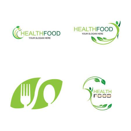 healthy food logo vector design icon illustration
