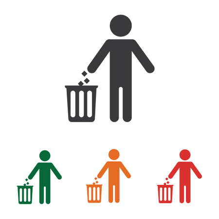 throw garbage in the trash vector illustration desigh