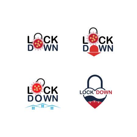 Lockdown logo design vector. icon lockdown. Global pandemic health warning concept