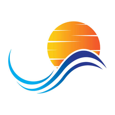 sea Water wave and sun icon vector illustration design logo - Vector