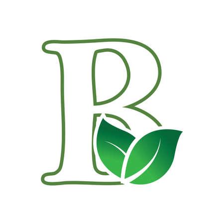 Green leaf and letter B monogram logo design vector. Illustration