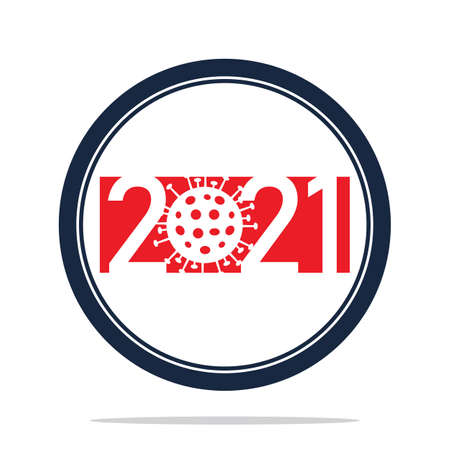 Happy New Year 2021 logo text design vector illustration - vector Illusztráció