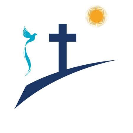 church christian line art logo design,Christian symbols. Reklamní fotografie - 157181194